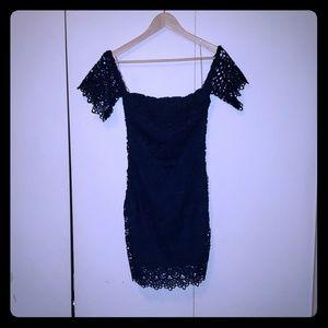 Mini blue crochet dress